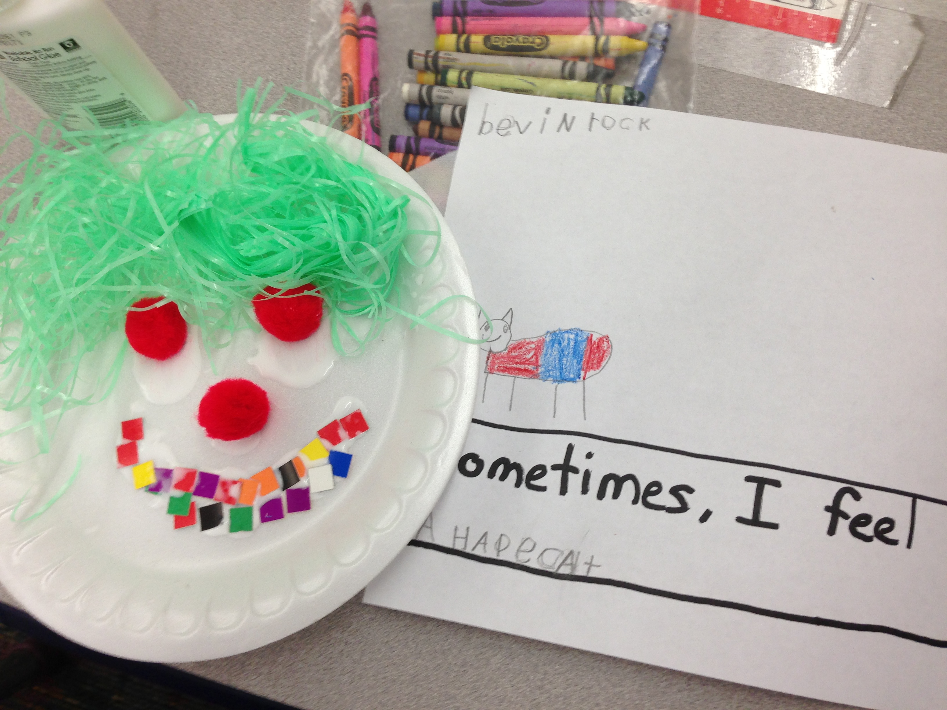 On the paper plates they used various arts \u0026 crafts supplies to create the accompanying paper plate faces. & feelings | The Kindergarten All-Stars